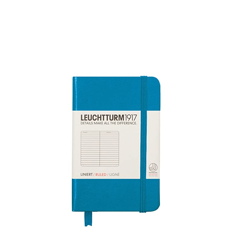 Leuchtturm1917 Mini Hardcover Notebook, 2.76 X 4.33 inches, 169 Lined Pages, Azure (349354)