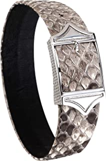 HAOSG Bracelet for Men Luxurious Python Snakeskin Genuine Leather Adjustable Bracelet