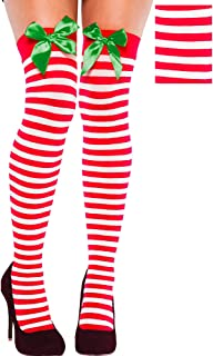 amscan Stripe Christmas Thigh-High Socks, 1 Pair | Party Costume