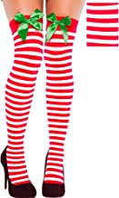 amscan Stripe Christmas Thigh-High Socks, 1 Pair | Party Costume