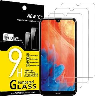 NEW'C 3-pack skärmskydd med Huawei Y7 Pro 2019, Y7 2019, Y7 Prime 2019 – Härdat glas HD klar 9H hårdhet bubbelfritt