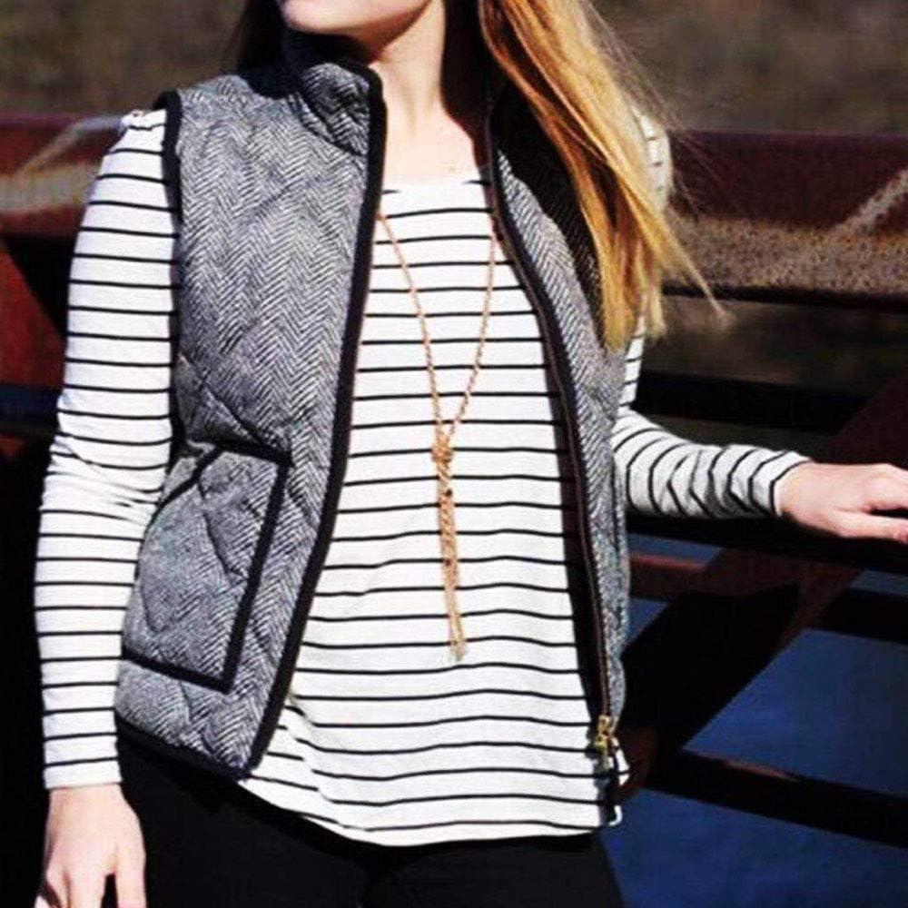 HIENAJ Women's Herringbone Puffer Vest Winter Fall Slim Zip Up Quilted Jacket Gilet