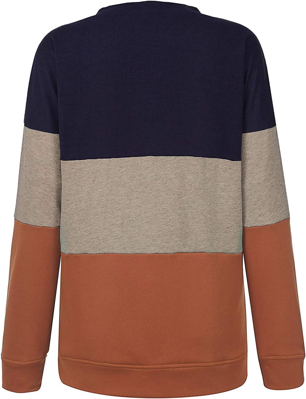 LAEMILIA Pull Femme sans Capuche Sweat-Shirt Sport Pullover Casual Manches Longues Hoodie Col Rond Original Haut Mode Sweater Top Coton pour La Vie Quditienne Loisir