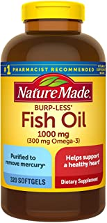 Nature Made Fish Oil Burp-Less 1000 mg, 320 Softgels, Fish Oil Omega 3 Supplement For Heart Health