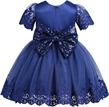 TiaoBug Baby Girls Sequined Bowknot Flower Girl Dress Embroidered Wedding Birthday Party Christening Baptism Easter Tutu Gown