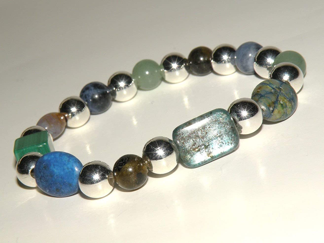 Blood Pressure Control Natural Gemstone Healing Bracelet with Silver Beads stretch