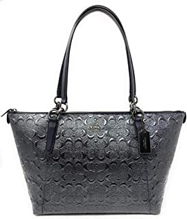 Coach Signbature AVA Patent Leather Tote Bag Handbag