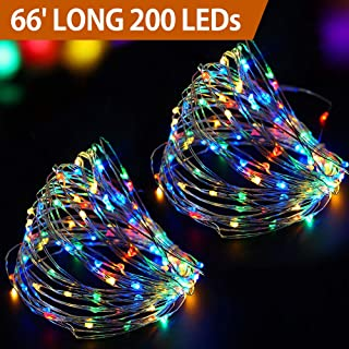 Bright Zeal 66' Long Multi Colored LED String Lights Battery Operated with Timer - Festive Christmas Wreath Decorations Multi Colored Outdoor - Waterproof Christmas Wreaths String Lights Colorful