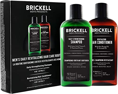 Brickell Men's Daily Revitalizing Hair Care Routine, Mint and Tea Tree Oil Shampoo, Strength and Volume Enhancing Conditioner, Natural and Organic product image