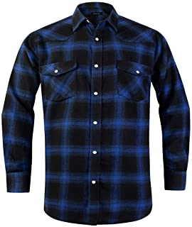 Sponsored Ad - Snap Buttons Flannel Shirts for Men Regular Fit Mens Long Sleeve Shirt