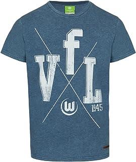 VfL Wolfsburg Offizielles VfL Wolfsburg T-Shirt  VfL 1945 im used Look mit morderner Lederapplikation Farbe: blau Größe S - 4XL XL