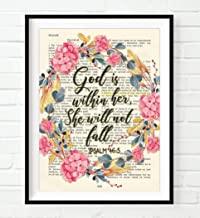 God Is Within Her, She Will Not Fall, Psalm 46:5, Art Print, Unframed, Vintage Bible Page Verse Scripture, Floral Christian Wall Art Decor Poster, 8x10