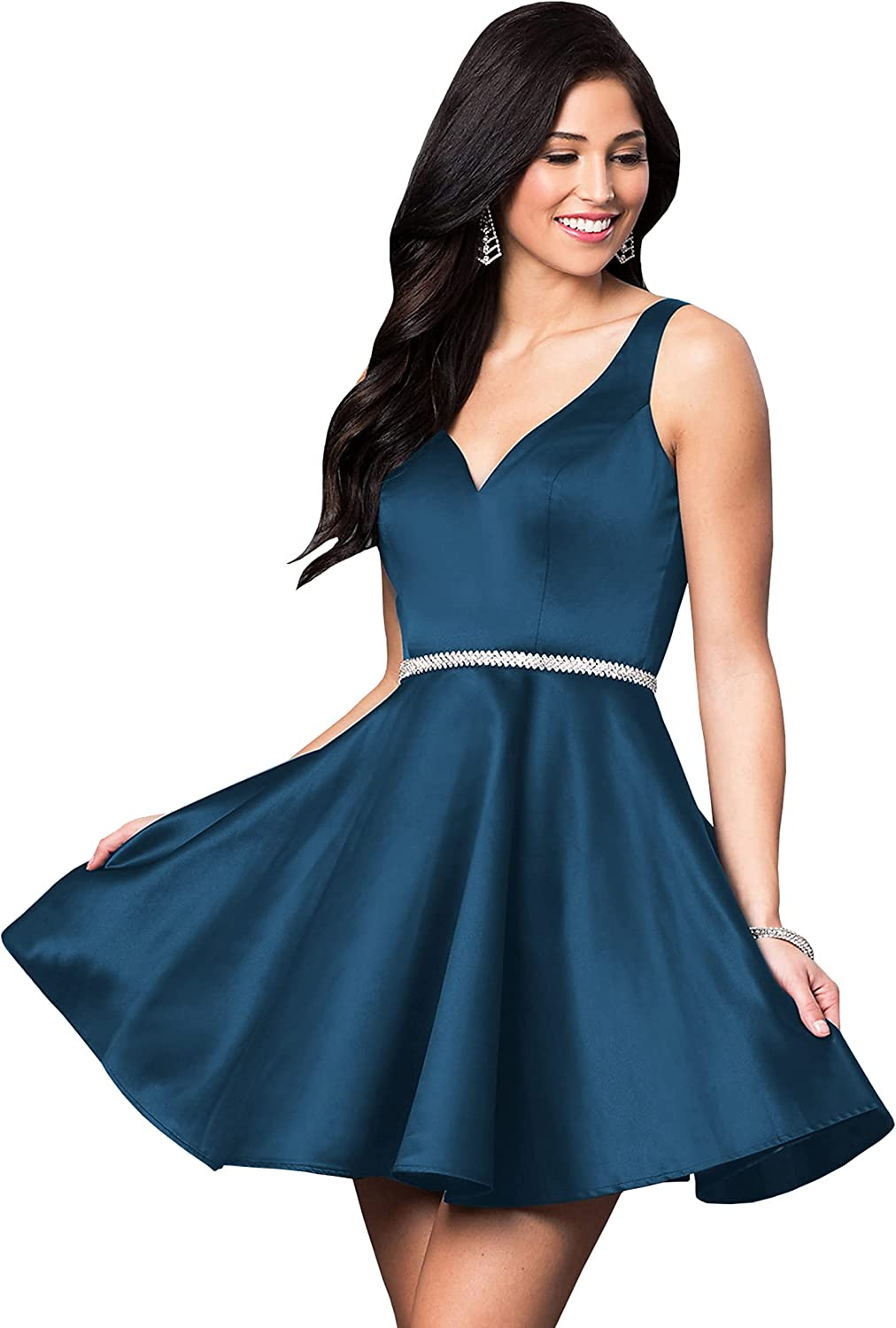 BOLENSEY Women's V-Neck Satin Short Homecoming Dress with Pockets Beaded Formal Evening Prom Gown