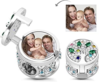 Customised Photo Charm 925 Sterling Silver Family Tree Charms Beads Personalized Picture Charms Pendant for Bracelets Necklaces