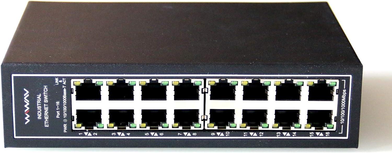 WIWAV WDH-16GT-DC 10/100/1000Mbps Switches Gigabit Industrial Ethernet de 16 Puertos no administrados con riel DIN/Montaje en Pared (Certificación UL, sin Ventilador, -30°C ~ 75°C)