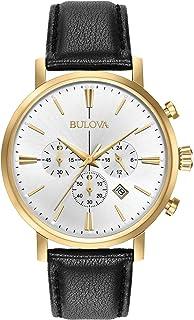 Bulova - Classic Aerojet 97B155 - Reloj de Pulsera de Diseño para Hombre - Función de Cronógrafo - Correa de Cuero - Dorado