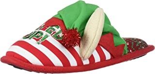 Dearfoams Unisex Holiday Funny Character Ugly Sweater Scuff Slipper, Lets Get Elfed Up Red Stripe, 8 Women/ 6 Men M US