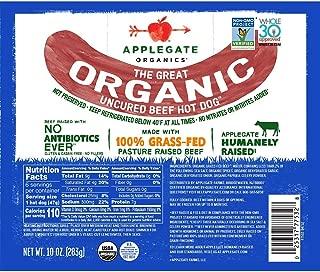 Applegate Great Organic Beef Hot Dog Uncured, 10oz