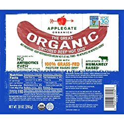 Applegate Great Organic Beef Hot Dog Uncured, 10oz
