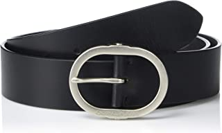 Women's Jeans Leather Belt with Center Bar Buckle