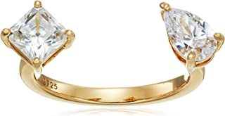 Yellow-Gold-Plated Sterling Silver Swarovski Zirconia 2-Stone Princess-Cut and Pear-Shape Ring