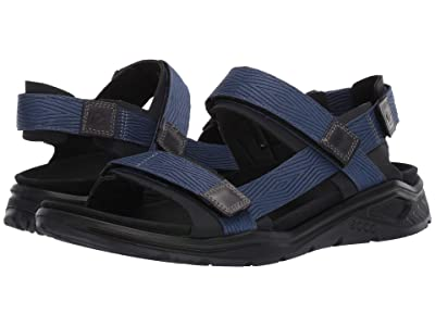 ECCO Sport X-Trinsic Textile Strap Sandal (Black/True Navy Textile) Men