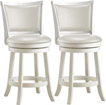 CorLiving DWG-114-B Woodgrove White Wash Wood Barstool with Leatherette Seat, 38-Inch, Set of 2