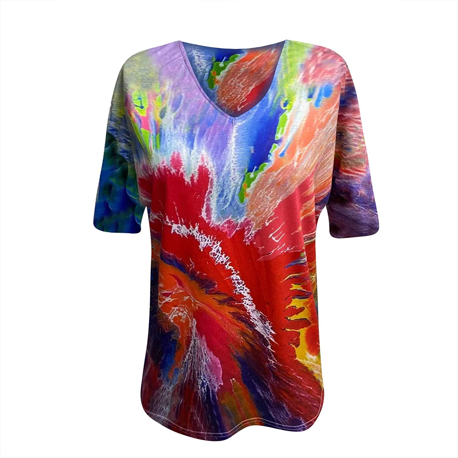 Summer Tops for Women 2021,Women's V Neck Summer Causal Short Sleeve Tops Loose Soft Floral Printed Tshirts Tunic Blouse Tops Tee Shirts Red