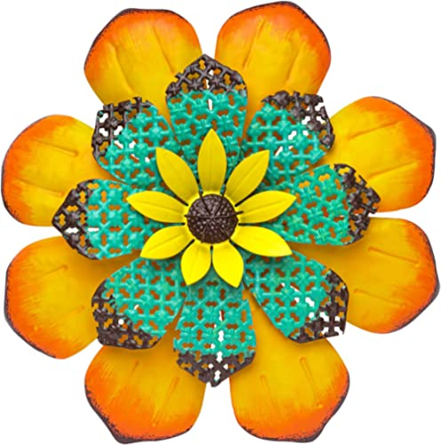 SONGXIN Garden Decor Outdoor Metal Flower Wall Decor Hanging Decoration for Patio Bedroom Living Room Office(13 Inch ...