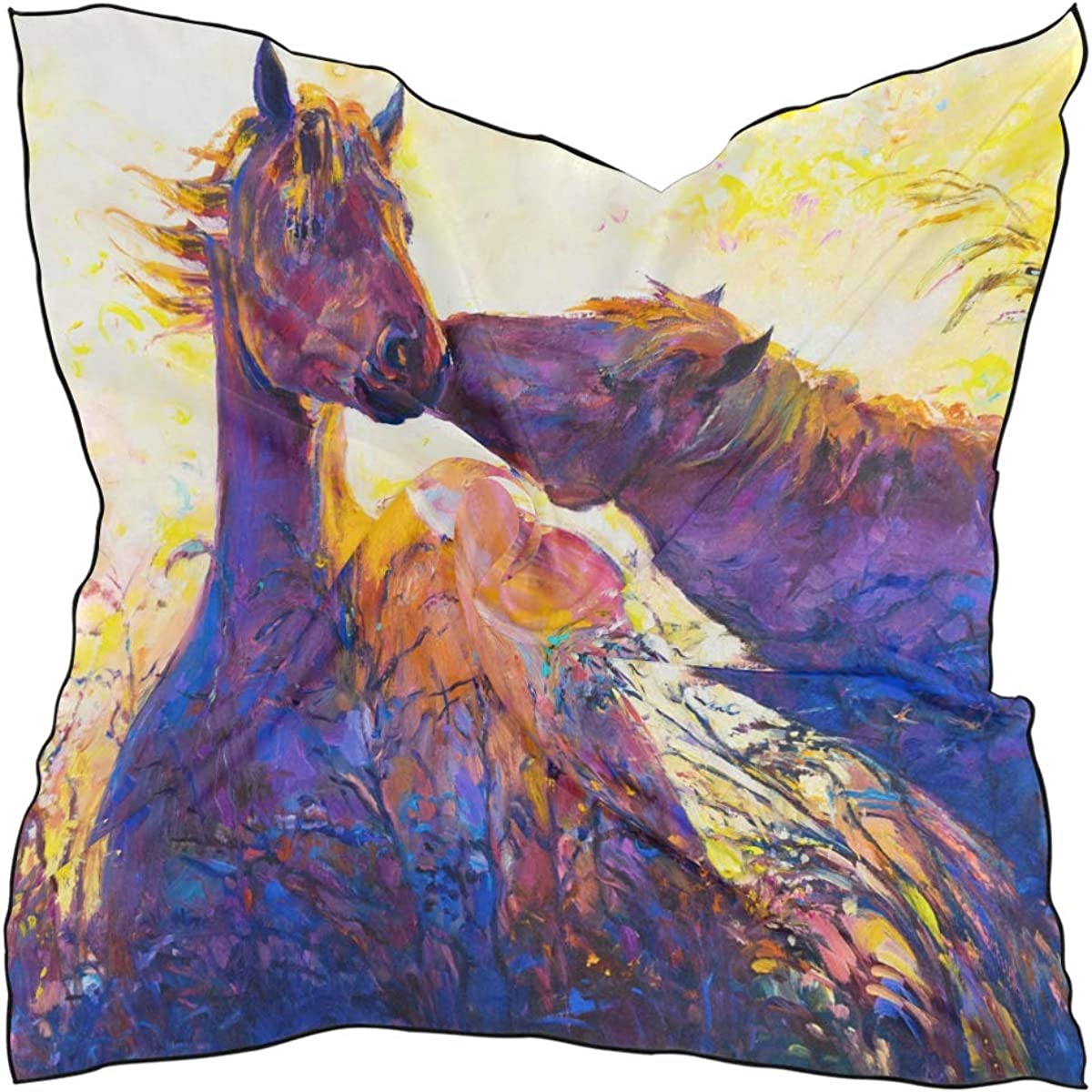 XLING Fashion Square Scarf Watercolor Abstract Animal Horse Paint Lightweight Sunscreen Scarves Muffler Hair Wrap Headscarf Neckerchief for Women Men