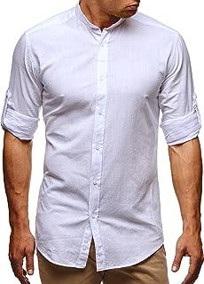 Mens Linen Cotton Henley Shirt Banded Collar Button Down 3/4 Short Sleeve Collarless Dress T Shirts for Men