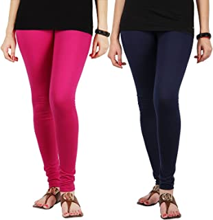 FabLab Cotton Lycra Churidar Leggings(FLCLCOMBO2PNBL,Pink, Navy Blue,Free Size) Combo Pack of 2