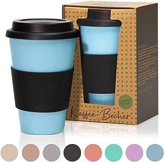 bambuswald©Taza reutilizable de bambú 450 ml Taza de café para llevar - con tapa de silicona   Vaso sostenible y rellenable: ideal para café, té y otras bebidas- en diferentes colores