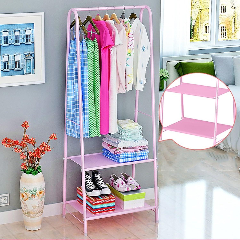 LJHA yimaojia Household Floorstanding Coat Rack Bedroom Simple Hangers Modern Assembly Hanging Rack (4 Styles Optional) Coat Hangers (color   C-Pink)