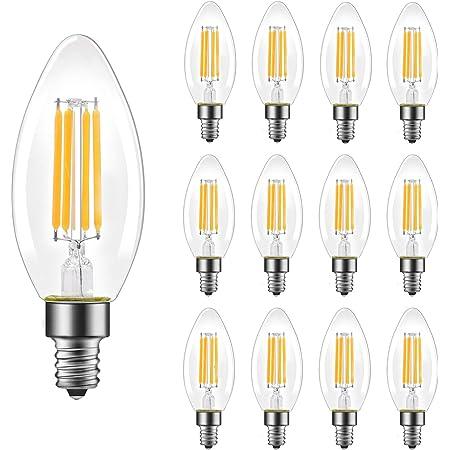 B11 E12 Candelabra Led Bulbs 60 Watt Equivalent Dimmable Led Chandelier Light Bulbs Soft White 2700k 550lm Decorative Candle Base Filament Bulb For Ceiling Fan Ul Listed 12 Pack Amazon Com