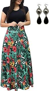UUAISSO Donna Vestiti Eleganti Lunghi Floreale Casuale Abito Maxi Manica Corta Abiti Vestito da Cocktail Banchetto Sera