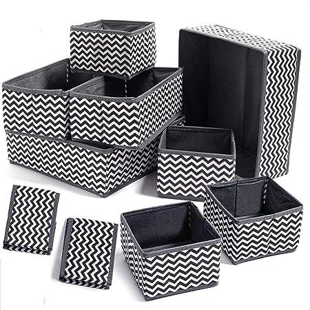 Evance 10Pcs Boîtes de Rangement Ouvertes en Textile Non-Tissé, Tiroir en Tissu,Cube de Rangement Pliable Coffre pour Soutiens-Gorge, Chaussettes, sous-vêtements (10 pcs)