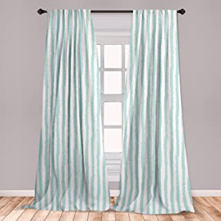 Ambesonne Aqua Window Curtains, Vertical Striped Pattern with Sketchy Lines Hipster and Grunge Design Ikat Inspired, Lightweight Decorative Panels Set of 2 with Rod Pocket, 56