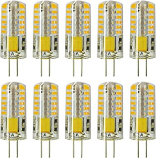 Rayhoo 10pcs Set G4 Base 48-LED Light Crystal Bulb Lamps 3 Watt AC DC 12V Non-dimmable Equivalent to 20W T3Halogen Track B...