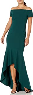 Calvin Klein Women's Off The Shoulder High Low Gown