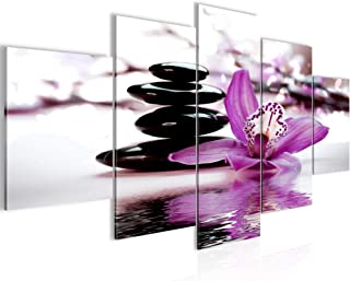 Runa Art - Tableau Fleurs Orchidée 200 x 100 cm 5 Parties XXL Decoracion Murale Dessin Violet 204251b