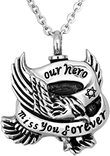 Eagle Urn Necklace For Ashes Our Hero Miss You Forever Keepsake Memorial Cremation Pendant