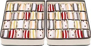 2 Pièces Organisateur de 24 Cellules Pliabl, Boîtes de Chaussettes de Rangement pour Organisateur de Placard, Organiseur d...