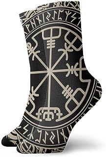 Calcetines para hombre y mujer, diseño Viking Magical Runic Compass Vegvisir - Calcetines deportivos con diseño de runas nórdicas (30 cm)
