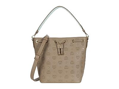 MCM Essential Monogrammed Leather Drawstring Small (Urban Taupe) Handbags