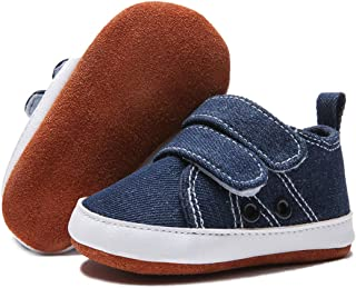 BENHERO Baby Boys Girls Shoes Canvas Infant Sneakers 100% Leather Anti-Slip Bottom Baby Walker Crib Shoes