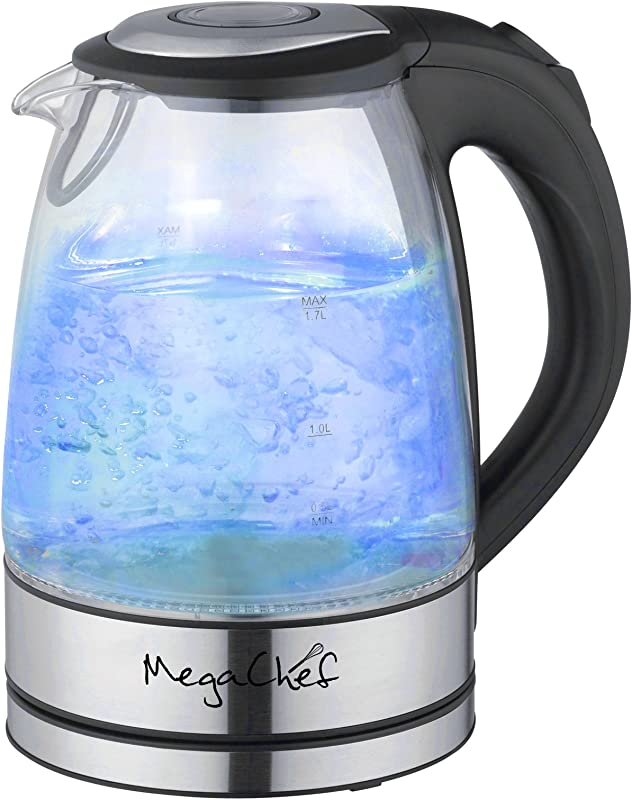 Mega Chef 1 7Lt Glass And Stainless Steel Electric Tea Kettle