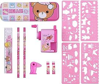 All-in-One School Stationery Set Pencil Eraser Pencil Case Sharpener Ruler School Supplies Gift for Kids Girls