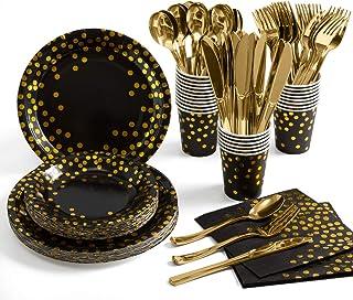 مجموعة لوازم الحفلات الذهبية من 175 قطعة، اواني المائدة الورقية للاستعمال مرة واحدة 25 اطباق ورقية منقطة ذهبية مع مجموعات ...