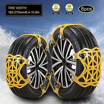 "Snow Chains - Anti SlipSnow Chain Tire Traction Chain Anti-Skid Emergency Snow tire Chains for Sand Mud Snow Trucks/ATV/SUV Tire Width 6.5""-11.2""(165mm-285mm)(Orange): image"